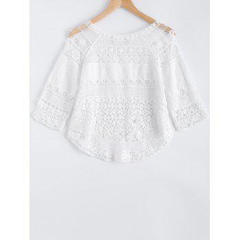 Hollow Out Crochet Lace Blouse - WHITE ONE SIZE(FIT SIZE XS TO M)