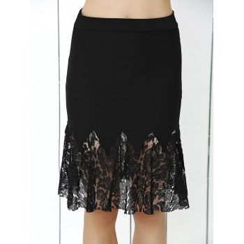 Charming Lace Splicing Skinny Women's Mermaid Skirt
