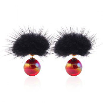 Trim Fuzzy Beads Stud Earrings