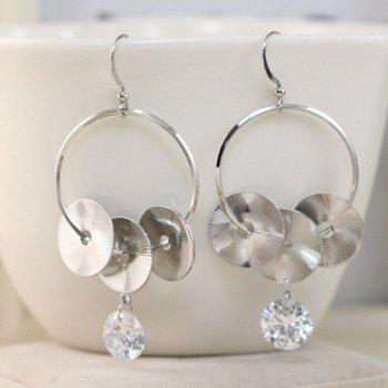 Buy Pair Stylish Cut Carved Disc Rhinestone Earrings Women SILVER