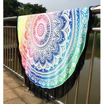 Stylish Bikini Swimwear Mandala Lotus Printed Long Fringe Round Beach Throw Scarf