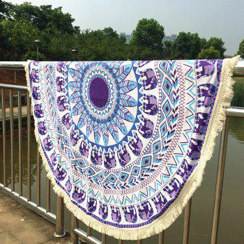 Stylish Bikini Swimwear Elephant Pattern Long Fringe Round Beach Throw Scarf