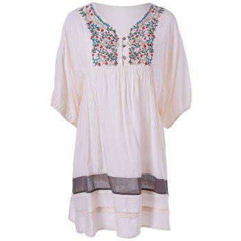 Ethnic Style V-Neck Embroidered Loose Dress