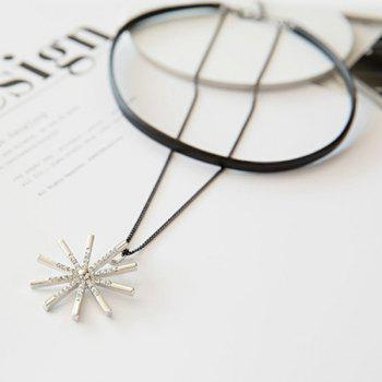 Faux Leather Snowflake Layered Choker Necklace - BLACK