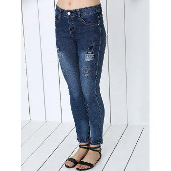 Stylish Letter Print Ripped Jeans - BLUE 27