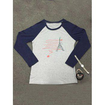 Raglan Sleeve Tower Print T-Shirt