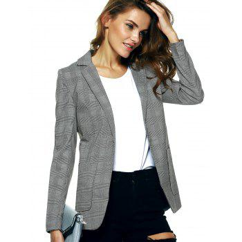 Vintage Lapel Pocket Slimming Houndstooth Blazer - CHECKED S