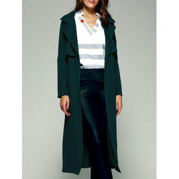 Elegant Belted Flounce Pure Color Maxi Wrap Long Trench Coat