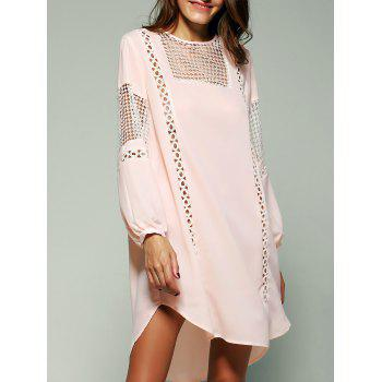 Bohemian Crochet Trim Lantern Sleeve Asymmetric Dress