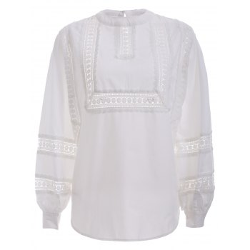 Brief Women's Crochet White Puff Sleeves Blouse