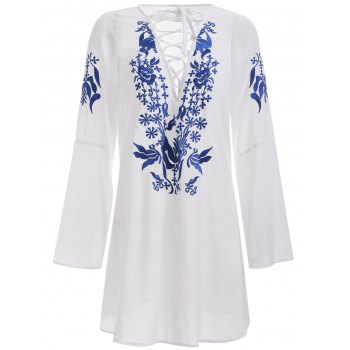 Brief Women's White Floral Print Lace-Up Dress