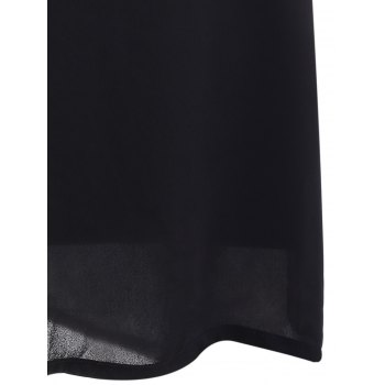 Brief Women's Cold Shoulder Black Chiffon Dress - BLACK XL