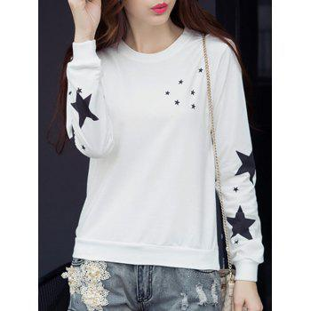 Star Graphic Long Sleeve T-Shirt - WHITE WHITE