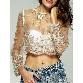 Graceful Women's Embroidered See-Through Crop Top