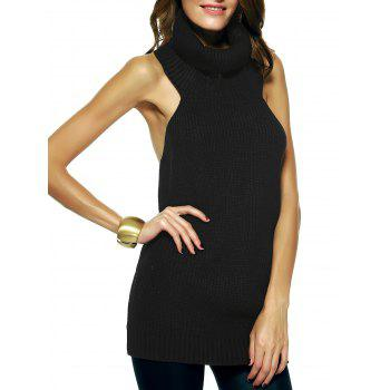 Turtleneck Open Back Longline Sweater Vest