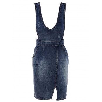 Simple Women's Bleach Wash Slit Denim Suspender Dress