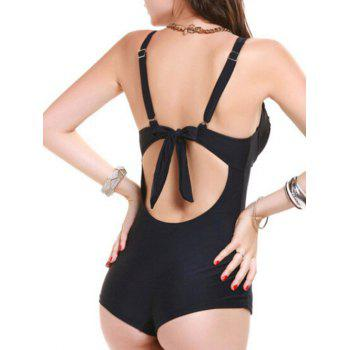 Stylish Ruched Open Back Swimwear For Women - BLACK XL