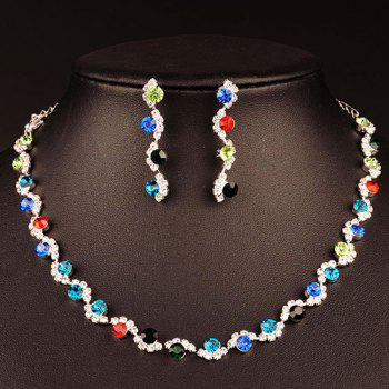 A Suit of Wavy Rhinestone Necklace and Earrings