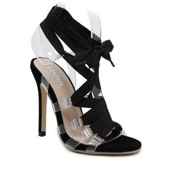 Stylish Transparent and Lace-Up Design Women's Sandals