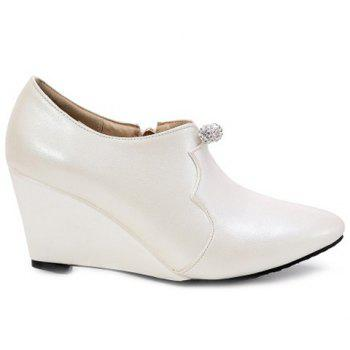 Chic Zipper et strass design Femmes  's Shoes Wedge - Blanc Cassé 38