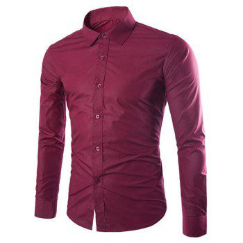 Candy Color Turn-down Collar Men's Long Sleeve Shirt