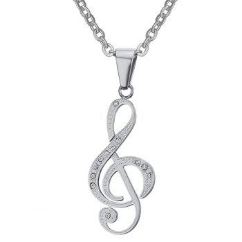 Buy Rhinestone Music Note Hollowed Necklace SILVER