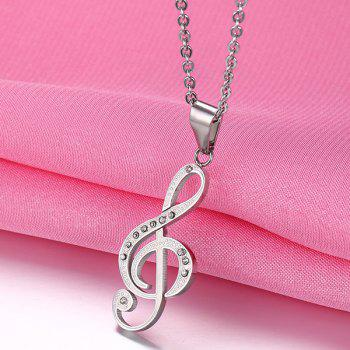 Rhinestone Music Note Hollowed Necklace - SILVER