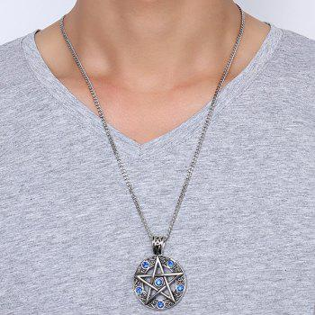 Star Round Pendant Necklace - DEEP BLUE