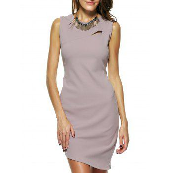 Elegant Women's Sleeveless Hollow Out Irregular Bodycon Dress