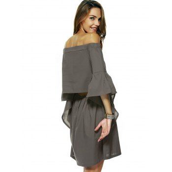 Sweet Flare Sleeve Faux Twinset Dress - SAGE GREEN S