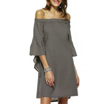 Sweet Flare Sleeve Faux Twinset Dress