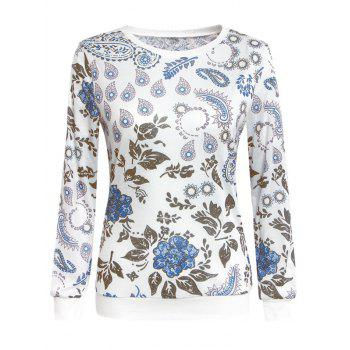 Chic Paisley Print Round Neck Long Sleeve Women's Sweatshirt