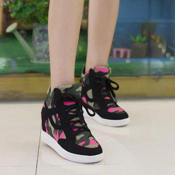 Trendy Camouflage and Hidden Wedge Design Women's Sneakers