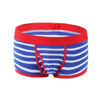 Color Block Spliced Classic Striped Boxer Underwear For Men