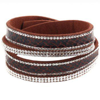 Rhinestone Faux Leather Button Adjustable Bracelet