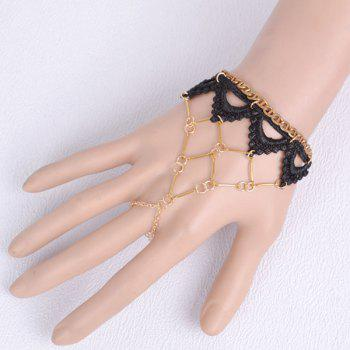 Cut Out Weaving Lace Tiered Triangle Bracelet - BLACK