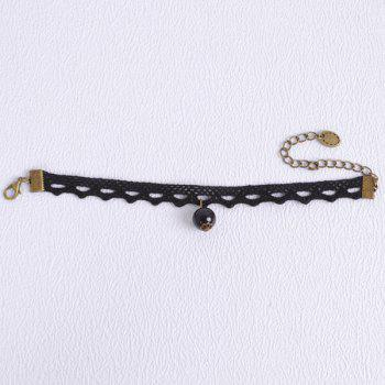 Cut Out Lace Faux Pearl Bracelet - BLACK