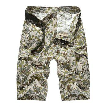 Camouflage Pattern Pockets Design Zipper Fly Straight Leg Men's Shorts