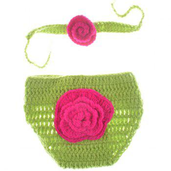 Good Quality Crochet Photography Clothes Set For Baby - GREEN GREEN