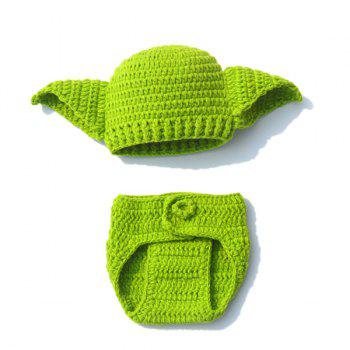 Crochet Photography Prop Clothes Set For Baby - GREEN GREEN