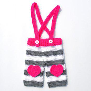 Long Tail Hat Overalls Baby Photography Clothes Set -  ROSE RED
