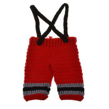 Fireman Overalls Crochet Photography Clothes Set For Baby -  RED