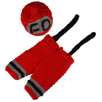 Fireman Overalls Crochet Photography Clothes Set For Baby - RED RED