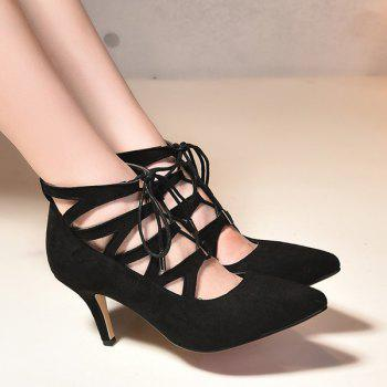Fashion Suede and Tie Up Design Women's Pumps