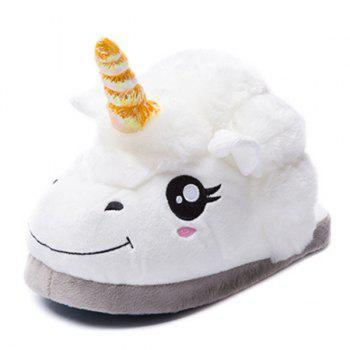 Stylish Winter Warm Fuzz Unicom Shape Cartoon Slippers For Children - WHITE