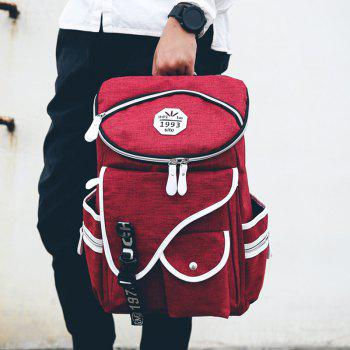 Stylish Zippers and Pockets Design Men's Backpack - DEEP RED DEEP RED