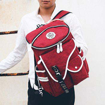 Stylish Zippers and Pockets Design Men's Backpack -  DEEP RED