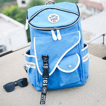 Stylish Zippers and Pockets Design Men's Backpack -  BLUE