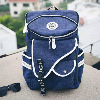 Stylish Zippers and Pockets Design Men's Backpack - DEEP BLUE