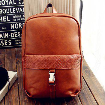 Stylish Solid Colour and Plaid Pattern Design Men's Backpack - LIGHT BROWN